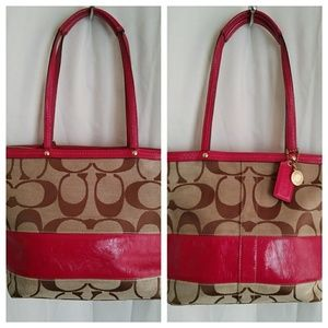 👜Coach Signature Patent Stripe Tote Purse